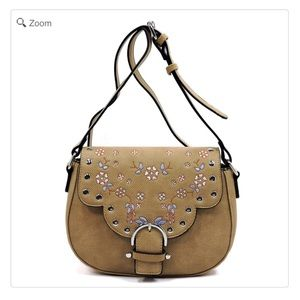 Handbags - NEW Embroidered Flower Saddle Crossbody Bag